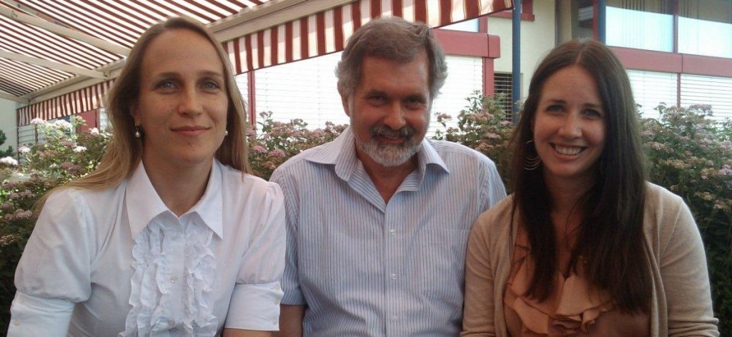 Authors Caroline Barretto (left), Harald Brüssow (middle), and Shawna McCallin (right) outside on the terrace at the Nestle Research Center.